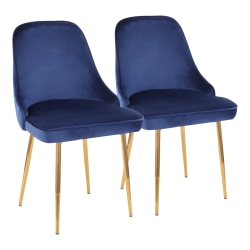 LumiSource Marcel Dining Chairs, Blue/Gold, Set Of 2 Chairs