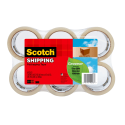 "Scotch® 3750 Greener Commercial Grade Packing Tape, 1-7/8"" x 49.2 Yd., Clear, Pack Of 6 Rolls"