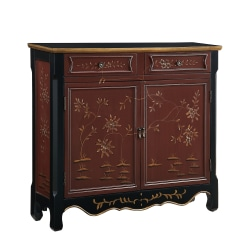 """Powell Balfour 2-Door Console Table, 36-1/4""""H x 41""""W x 11""""D, Red"""