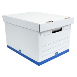 """Office Depot® Brand Medium Quick Set Up Corrugated Medium-Duty Storage Boxes With Lift-Off Lids And Built-In Handles, Letter/Legal Size, 15"""" x 12"""" x 10"""", White/Blue, Case Of 5"""