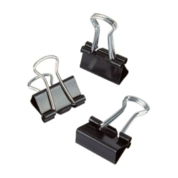 "Office Depot® Brand Binder Clips, Mini, 9/16"" Wide, 1/4"" Capacity, Black, Pack Of 60"