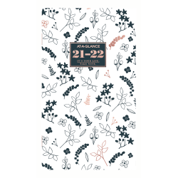 "At-A-Glance® BADGE Floral 24-Month Monthly Planner, 6"" x 3-1/2"", Black/White, January 2021 To December 2022, 1450L-021"