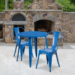 """Flash Furniture Commercial-Grade Round Metal Table Set With 2 Café Chairs, 29-1/2"""" x 30"""", Blue"""