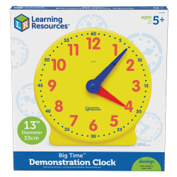 """Learning Resources® Big Time™ Learning Clock®, 12-Hour Demonstration, Ages 5-12, 13 1/4""""H"""