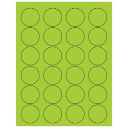 "Office Depot® Brand Labels, LL193GN, Circle, 1 5/8"", Fluorescent Green, Case Of 2,400"