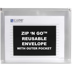 C-Line Zip 'N Go Reusable Poly Envelope with Outer Pocket - Zipper Closure, Clear, 3/PK, 48117