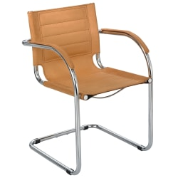 Safco® Flaunt™ Guest Chair, Chrome/Camel Microfiber
