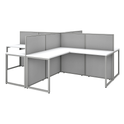 "Bush Business Furniture Easy Office 60""W 4-Person L-Shaped Cubicle Desk Workstation With 45""H Panels, Pure White/Silver Gray, Premium Installation"