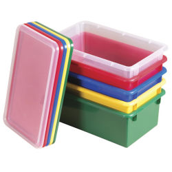 ECR4Kids® Stack & Store Bins With Lids, Medium Size, Assorted Colors, Pack Of 12