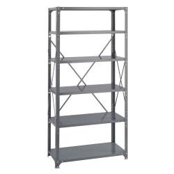 "Safco® Commercial Steel Shelf Pack, 75""H x 36""W x 18""D, 6 Shelves, Gray"