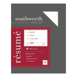 """Southworth® 100% Cotton Résumé Paper, 8 1/2"""" x 11"""", 24 Lb, 100% Recycled, White, Pack Of 100"""