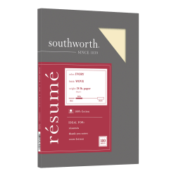 "Southworth® 100% Cotton Résumé Paper, 8 1/2"" x 11"", 24 Lb, 100% Recycled, Ivory, Pack Of 100"