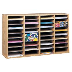"Safco® Adjustable Wood Literature Organizer, 24""H x 39-3/8""W x 11-3/4""D, 36 Compartments, Oak"