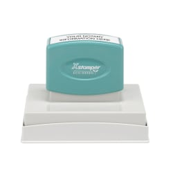 """Custom ECO-GREEN Xstamper® Pre-Inked Notary Stamp, N28, 61% Recycled, 2-1/2"""" x 3-7/8"""" Impression"""