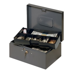 """STEELMASTER® Cash Box With Safety Latch, 7 Compartments, 4 3/8""""H x 10 1/4""""W x 7 1/4""""D, Gray"""