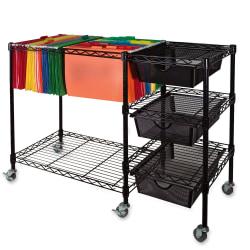 "Vertiflex Mobile File Cart, 28""H x 38""W x 15 1/2""D, Black"