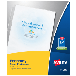 """Avery® Sheet Protectors, Letter Size, Economy, 8 1/2"""" x 11"""", Clear, Pack Of 50"""