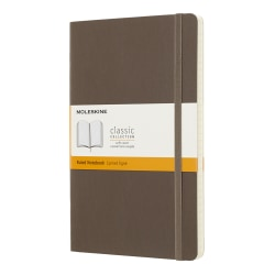 """Moleskine Classic Soft Cover Notebook, 5"""" x 8-1/4"""", Ruled, 240 Pages (120 Sheets), Earth Brown"""