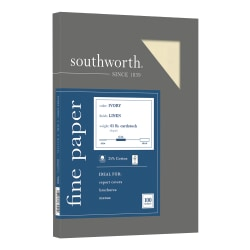 """Southworth® 25% Cotton Linen Cover Stock, 8 1/2"""" x 11"""", 65 Lb, FSC® Certified, 55% Recycled, Ivory, Pack Of 100"""