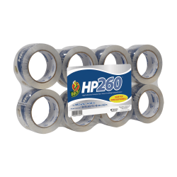 "Duck® HP260™ Packaging Tape, 1-7/8"" x 60 Yd., Clear, Pack Of 8 Rolls"