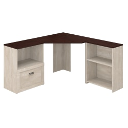 Bush Furniture Townhill Corner Desk With Bookcase And File Cabinet, Washed Gray/Madison Cherry, Standard Delivery
