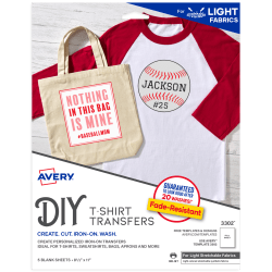 Avery® T-Shirt Transfers, Stretchable, Pack Of 5