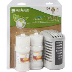 San Jamar Twist Air Care Dispenser Kit - 60 Day(s) Refill Life - 44883.12 gal Coverage - 6 / Carton - White