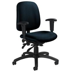 "Global® Goal™ Low-Back Multi-Tilter Task Chair, 36""H x 25""W x 22 1/2""D, Blue/Black"