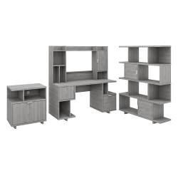 """kathy ireland® Home by Bush Furniture Madison Avenue 60""""W Computer Desk With Hutch/Lateral File Cabinet/Bookcase, Modern Gray, Standard Delivery"""