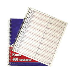 "Adams® Voicemail Log Books, 7 1/2"" x 8 1/2"", 120 Pages, White/Canary Yellow, Pack Of 2"