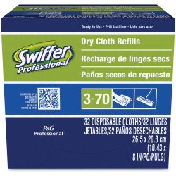 """Swiffer® Sweeper Dry Cloth Refills, 10-5/8"""" x 8"""", White, 32 Cloths Per Box, Carton Of 6 Boxes"""