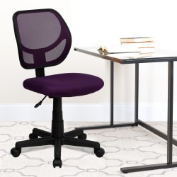Flash Furniture Mesh Low-Back Swivel Chair, Purple/Black