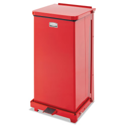 """Rubbermaid® Commercial Defenders® Square Steel Step Can, 12 Gallons, 23"""" x 12"""", Red"""