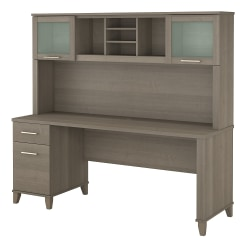 """Bush Furniture Somerset Office Desk With Hutch, 72""""W, Ash Gray, Standard Delivery"""