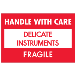 """Tape Logic® Fragile Labels, DL1308, Handle With Care - Delicate Instruments - Fragile, 2"""" x 3"""", Red/White, Roll Of 500"""