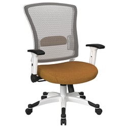 Office Star™ Space Seating Mesh Mid-Back Chair, Brass/White