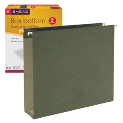 """Smead® Hanging Box-Bottom File Folders, 2"""" Expansion, Letter Size, Standard Green, Box Of 25"""