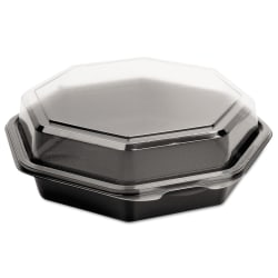 Dart® OctaView® Hinged-Lid Cold Food Containers, 21 Oz, Black/Clear, Pack Of 100 Containers