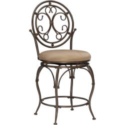 Powell® Home Fashions Big & Tall Scroll Circle Back Counter Stool, Tan/Bronze