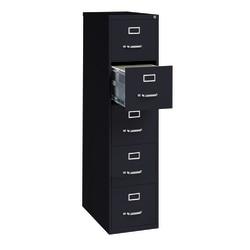 """WorkPro® 26-1/2""""D Vertical 5-Drawer Letter-Size File Cabinet, Metal, Black"""