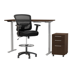 """Move 60 Series by Bush Business Furniture 60""""W Height Adjustable Standing Desk With Storage And Drafting Chair, Mocha Cherry Satin, Standard Delivery"""