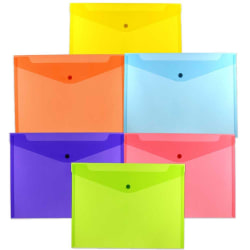 """JAM Paper® Plastic Letter Booklet Envelopes With Snap Closures, 9-3/4"""" x 13"""", Assorted Colors, Pack Of 6 Envelopes"""