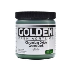 Golden OPEN Acrylic Paint, 8 Oz Jar, Chromium Oxide Green Dark
