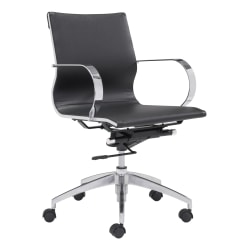 Zuo Modern® Glider Low-Back Office Chair, Black/Chrome