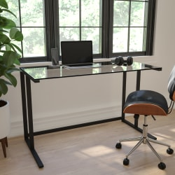 Flash Furniture Contemporary Glass Pedestal Frame Desk, Black/Clear