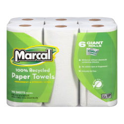 """Marcal® Small Steps™ Paper Towels, U-Size-It, 5-7/10"""" x 11"""", 100% Recycled, White, 140 Sheets Per Roll, Pack Of 6 Rolls"""