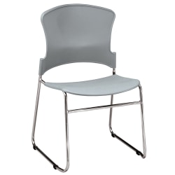 OFM Multi-Use Stack Chair, Plastic Seat & Back, Gray, Pack Of 4