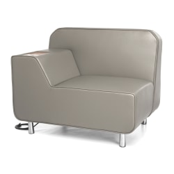 OFM Serenity Series Right Arm Lounge Chair With AC Outlet And USB Ports, Taupe/Chrome