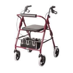 "DMI® Adjustable Steel Rollator Walker With Backrest, 38 1/2""H x 25""W x 29 1/2""D, Burgundy"