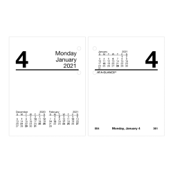 "AT-A-GLANCE® Compact Daily Loose-Leaf Desk Calendar Refill, 3"" x 3-3/4"", January To December 2021, E91950"